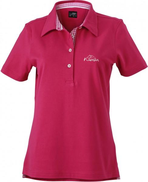 Damen Polo-Shirt mit kariertem Besatz